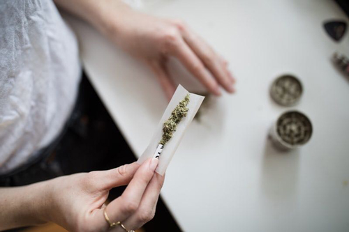 cannabis influencer rolling a joint